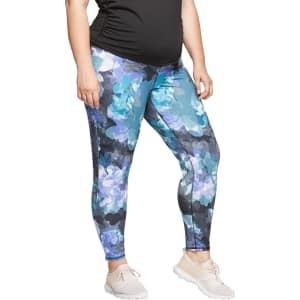 9a2b3a0ef4 Maternity Plus Size Floral Print Active Leggings with Crossover ...