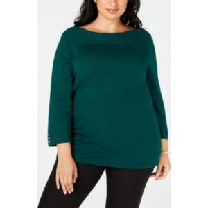 Karen Scott Plus Size Cotton Boat Neck Sweater Created For Macys