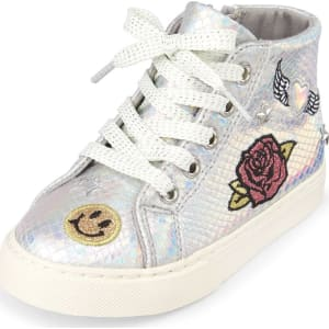 c72eb528ef1 Baby Girls Toddler Metallic Iridescent Glitter Patch Popstar Sneaker ...