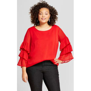 88b6770dc8550a Women's Plus Size Ruffle Sleeve Blouse - Ava & Viv Red 4x from Target.
