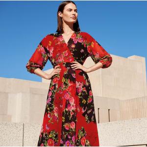 8abdbc454080 Studio by Preen - Red Floral Print Chiffon V-Neck Long Sleeve Midi ...