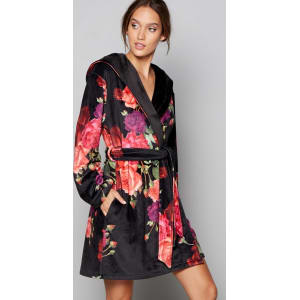 B By Ted Baker Black Floral Print Juxtapose Rose Dressing Gown