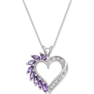 Amethyst 34 ct tw and diamond accent heart pendant necklace in amethyst 34 ct tw and diamond accent heart pendant necklace in 14k white gold aloadofball Image collections