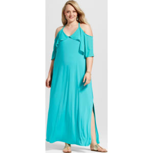 Women\'s Plus Size Cold Shoulder Maxi Dress - Notations - Blue 3x, Blue Bird
