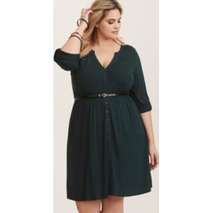 adc74ce0dd9 Emerald Green Knit Button Front Belted Shirt Dress in Emerald Isle from  Torrid.