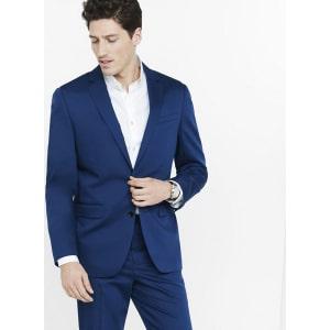 Express Mens Classic Blue Cotton Sateen Suit Jacket