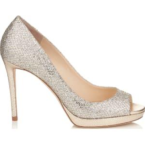 d1c97d22f6441 Luna 100 Champagne Glitter Fabric Peep Toe Platform Pumps from Jimmy ...