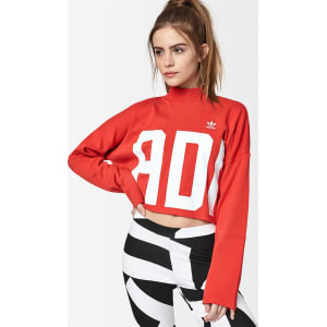 Adidas Bold Age Cropped Sweatshirt - Red/White