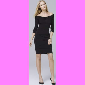6f0336b84fa Women s Off-The-Shoulder Tiered Black Instantly Slimming Dress by ...