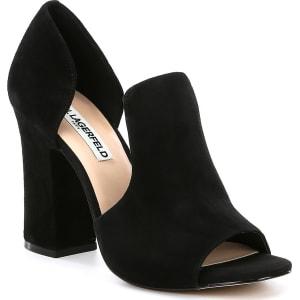 829e60b096f Karl Lagerfeld Paris Rian Suede Cut Out Slip on Block Heel Dress ...