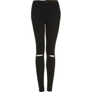 pick up superior quality sold worldwide Womens Petite Moto Black Ripped Jamie Jeans
