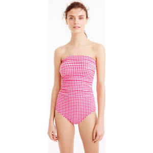 c704a9e9bc254 D-Cup Gingham Ruched Bandeau One-Piece Swimsuit from J.Crew.