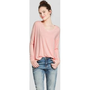 0b9ffaa7 Women's Long Sleeve Softest V-Neck T-Shirt - Mossimo Supply Co. Pink ...