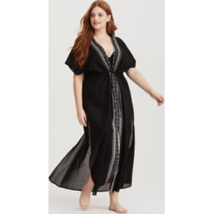 c04280d6fbc Black   White Embroidered Maxi Swim Cover-Up in Black from Torrid.
