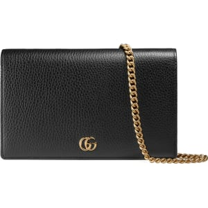 c278fc8e8 Women's Gucci Petite Marmont Leather Wallet On A Chain - Black from ...