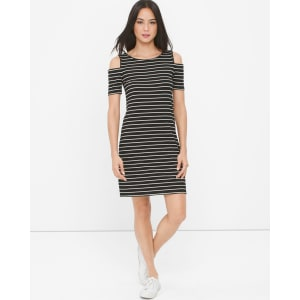 2b6658bcab701 Women s Cold-Shoulder Stripe Soft Jersey Knit Dress by White House ...