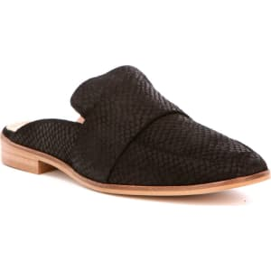 Free People At Ease Leather Snake Embossed Stacked Block Heel Mules