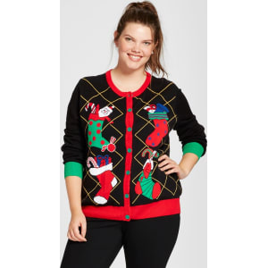 Plus Size Ugly Christmas Sweater.Women S Plus Size Stocked Crew Neck Cardigan Ugly Christmas Sweater Black 1x