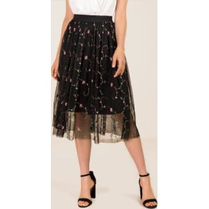 8135589a8 Rachael Embroidered Floral Tulle Midi Skirt - Black from francesca's.