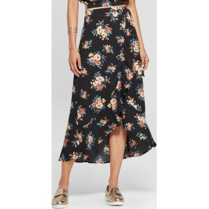 1ca44caad Women's Floral Print High-Low Hem Maxi Skirt - Xhilaration Black L ...