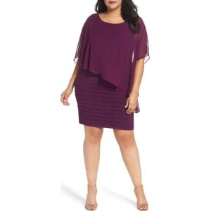 Plus Size Women\'s Adrianna Papell Chiffon Overlay Shutter Pleat Sheath  Dress, Size 24w - Purple
