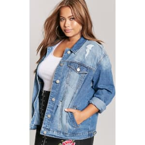 f036aab03d9 Plus Size Distressed Denim Jacket from Forever 21.