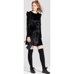 110ad16107a Women s Velvet Long Sleeve Dress - Mossimo Supply Co. Black Xs from ...