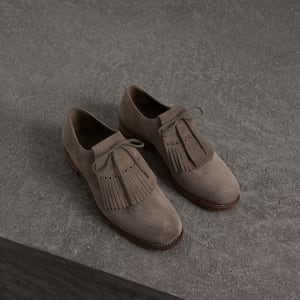 Kiltie Fringe Suede Loafers - Grey Burberry