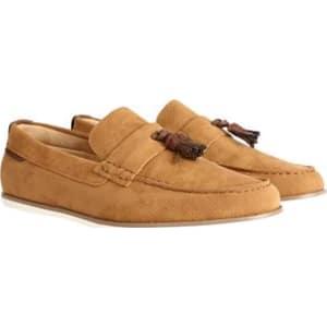 cfe6ca3d642 Mens Tan Suede Look Tassel Loafers