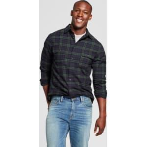330918d5509e Men s Standard Fit Twill Plaid Flannel Shirt - Goodfellow   Co Dark ...