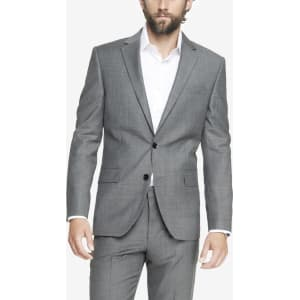 Express Mens Classic Micro Twill Gray Suit Jacket