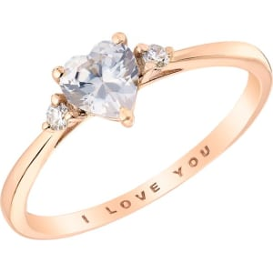 91a57384e 9ct Rose Gold Cubic Zirconia I Love You Ring from H.Samuel.