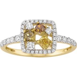 7ba737125 Kallati 7/8 Ct. Tw. Yellow and White Diamond Square-Top Ring in 14k ...