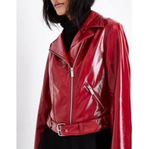 Red Patent Leather Look Biker Jacket New Look From New Look