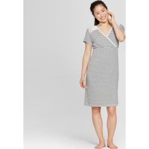 e5e9cc0f3a7a2 Lamaze Women's Striped Nursing Short Sleeve Nightgown - Gray L from Target.