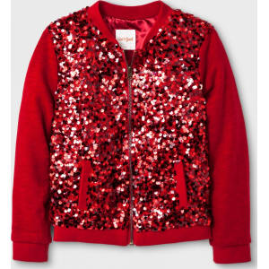 eb57e9dd6 Girls' Bomber Sequin Jacket - Cat & Jack Red L from Target.