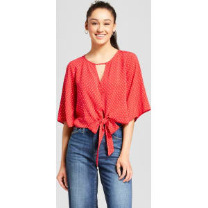 14f3d23d46a380 Women's Polka Dot Keyhole Tie-Front T-Shirt - Mossimo Supply Co. Red M from  Target.