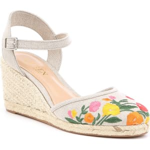 Hayleigh Floral Embroidered Espadrille Wedge Sandals
