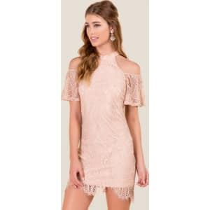 be466bd930 Carys Cold Shoulder Lace Shift Dress - Mauve from francesca s.
