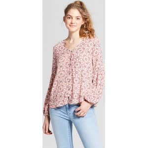 e8ab2acfe Women's Long Sleeve Button Down Top - Mossimo Supply Co. Pink Ikat S ...