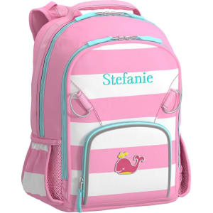 Small Backpack, Fairfax Stripe Pink White with Aqua Trim Whale from ... d79021f7fd