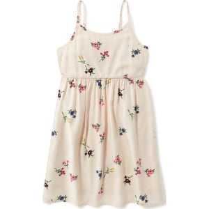 0573d7ca0c46c Old Navy Printed Fit &Amp; Flare Cami Dress for Girls - Cream Floral