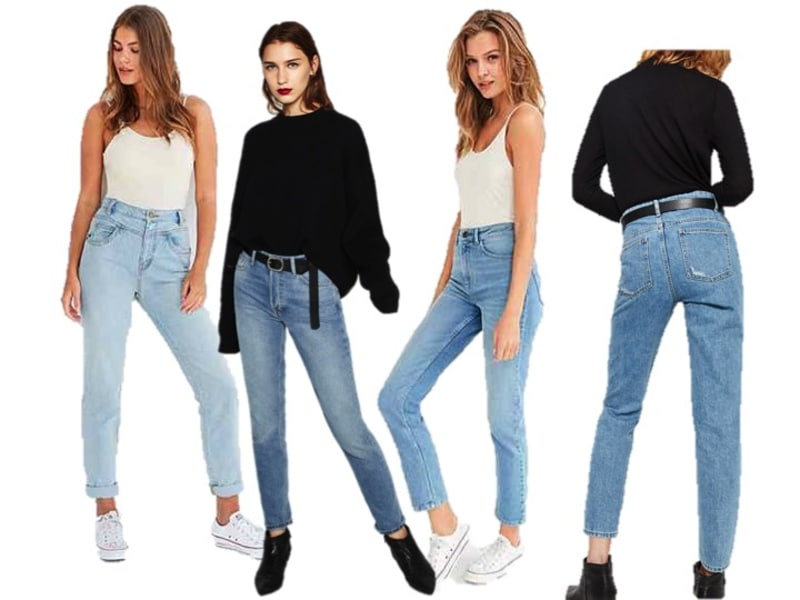 714a1cd0 (Left to right): 80's Seamed High, Urban Outfitters; High Rise Straight Cut  Jeans, Zara; Girlfriend High Rise Jean, Urban Outfitters; High Waisted Mum  Fit ...