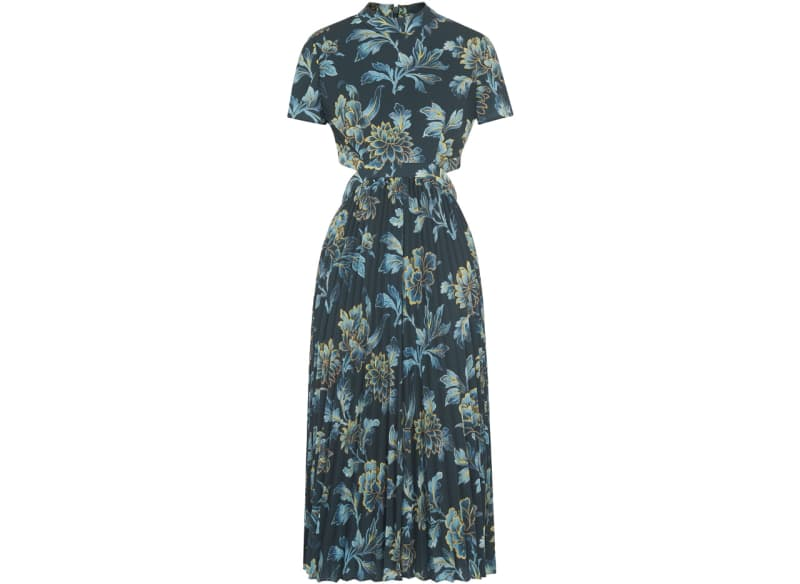 blue print floral dress