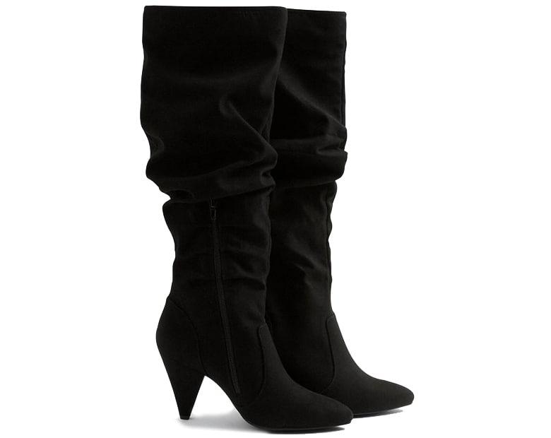 black velvet slouch thigh high boots heel