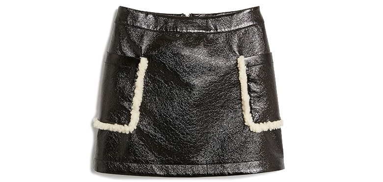 shearling faux leather black skirt