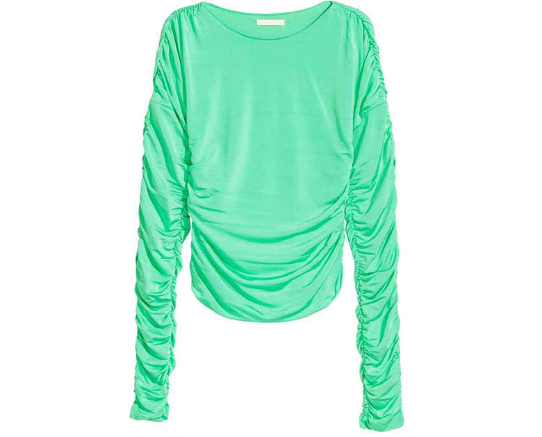 green hm drape ruche top