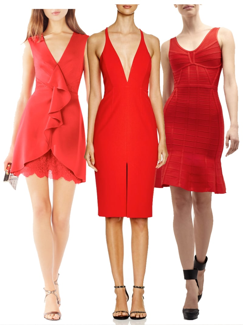 5c58f4e414 The outfit: A fun and flirty red dress, with a statement neckline or  hemline. The accessories: Strappy stilettos, a sleek clutch, and sleek,  simple jewels.