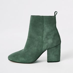 Womens Green leather square toe boots