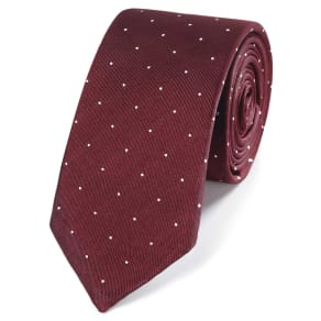 Burgundy and White Spot Slim Silk Tie Size OSFA by Charles Tyrwhitt